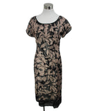 Beth Bowley Neutral Black Silk Brown Taupe Dress size 6