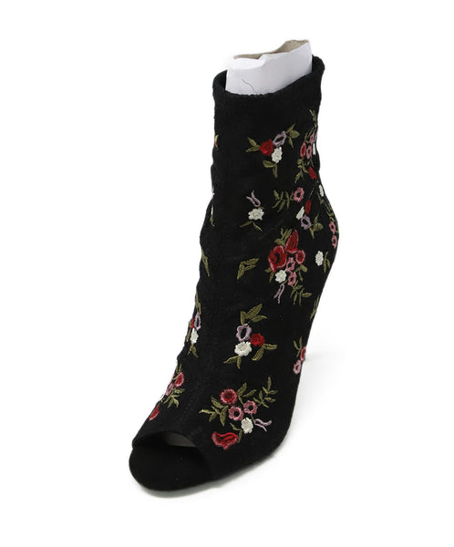 Betsy Johnson Black Red Floral Lace Embroidery Booties 1