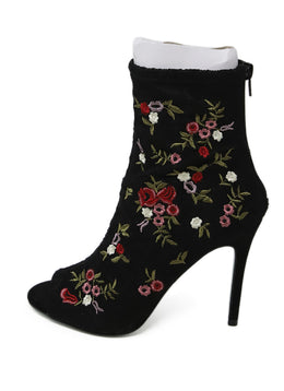 Betsy Johnson Black Red Floral Lace Embroidery Booties 2