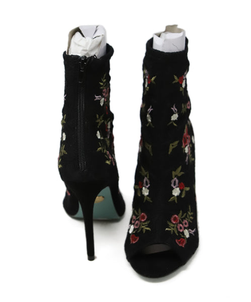 Betsy Johnson Black Red Floral Lace Embroidery Booties 3