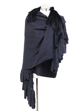 Bill Blass Black Cashmere Rabbit Shawl