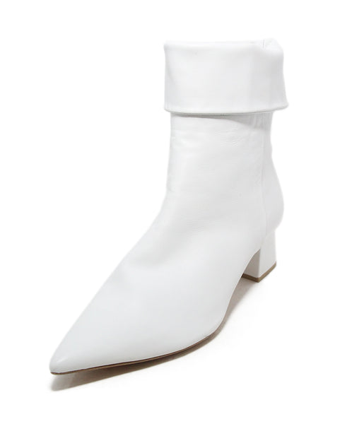 Birman white leather booties 1