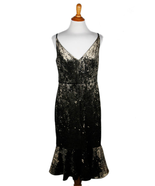 Black Halo Brown Crushed Velvet Dress Sz 8