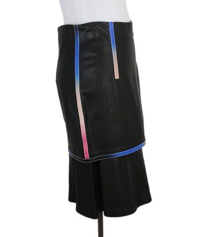 Marco de Vincenzo Black Leather Blue Red Trim Skirt 1