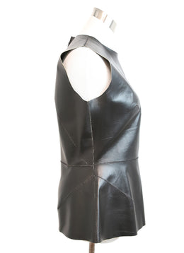 Black Leopard Leather Reversible Top 2