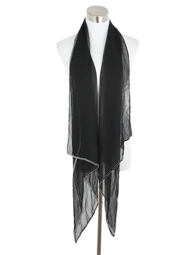 Escada Black Silk Beaded Scarf