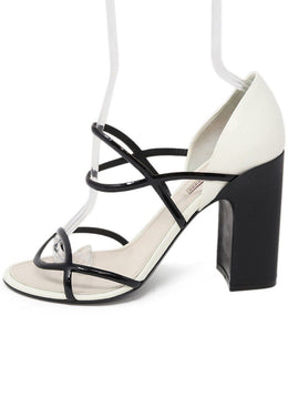 Fabrizio Viti Black White Leather Sandals 39