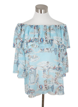 Blumarine Blue White Red Print Rayon Top 1