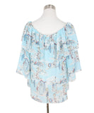 Blumarine Blue White Red Print Rayon Top 3
