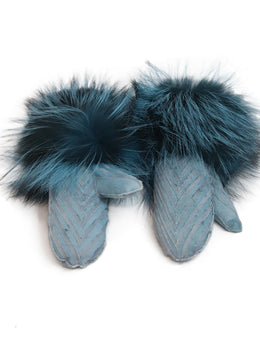 Blue Suede Fox Fur Gloves 1