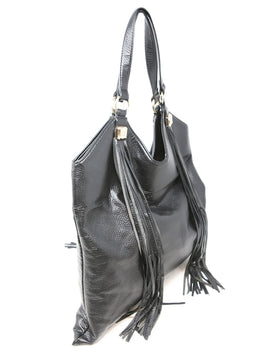 Blumarine Black Leather Satchel Bag with Fringe Detail 2