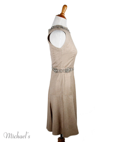 Blumarine Tan Wool Lace Rhinestones Dress Sz 40