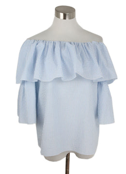 Blumarine Blue White Cotton Stripes Top 1