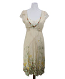 Blumarine Neutral Multi Print Beaded Embroidery Silk Dress 1