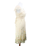 Blumarine Neutral Multi Print Beaded Embroidery Silk Dress 2