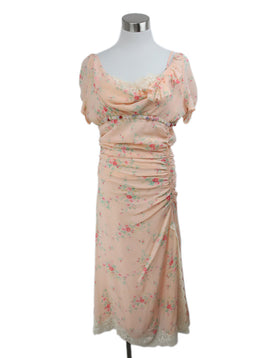 Blumarine Pink Peach Silk Green Floral Ruffle Lace Detail Dress 1