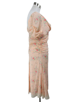 Blumarine Pink Peach Silk Green Floral Ruffle Lace Detail Dress 2