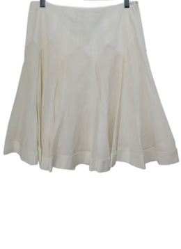 Blumarine White Cotton Spandex Pleated Skirt 1