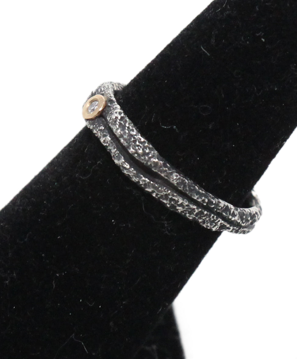 Boaz Kashi Blackened 18K Gold Sterling Silver Diamond Ring 2