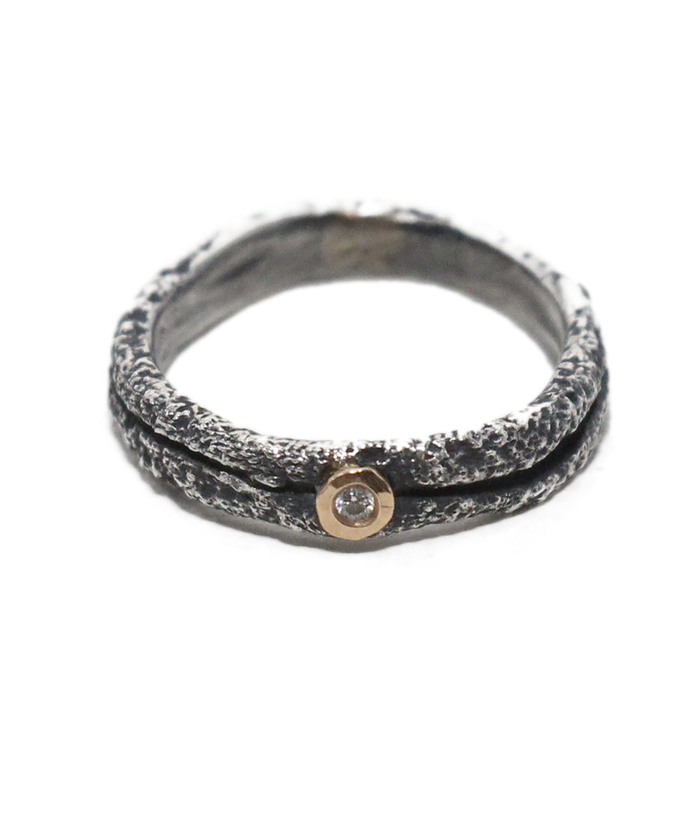 Boaz Kashi Blackened 18K Gold Sterling Silver Diamond Ring 3