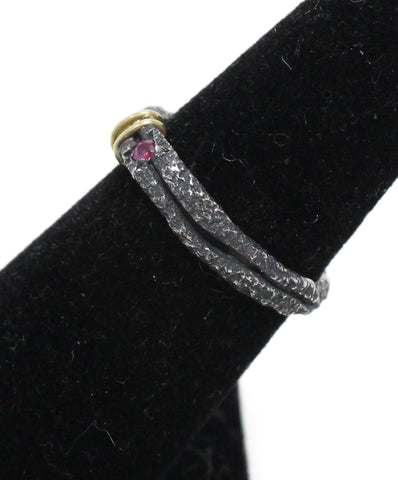 Boaz Kashi Blackened 18k Gold sterling silver ruby ring 1