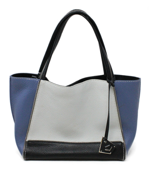 Botkier Blue White Black Color Block Leather Shoulderbag 3