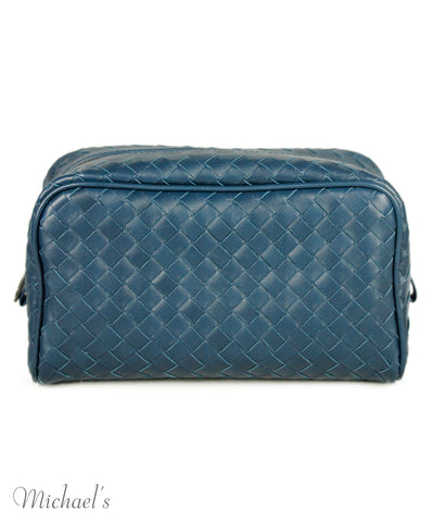 Bottega Blue Leather Cosmetic Case 1