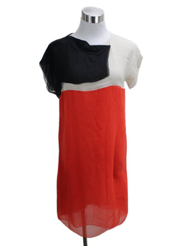 Bottega Veneta Orange Black Ivory Silk Dress