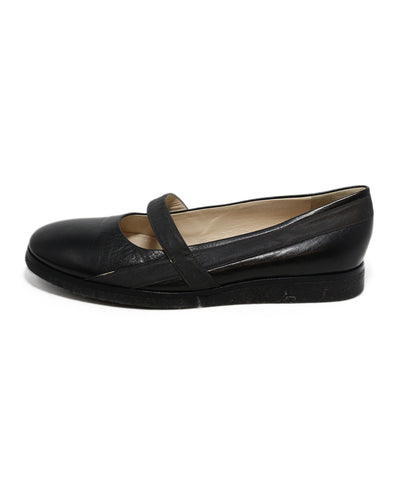 Bottega Veneta Black Leather Charcoal trim flats 1