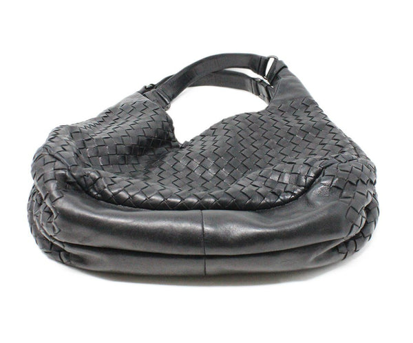 Bottega Veneta Black Woven Intreccacio Leather Hobo Bag 4