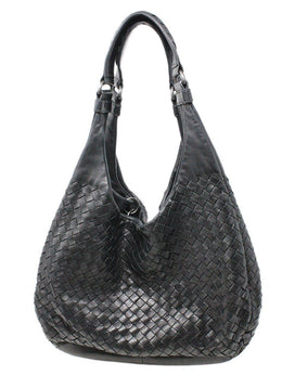 Bottega Veneta Black Woven Intreccacio Leather Hobo Bag 1