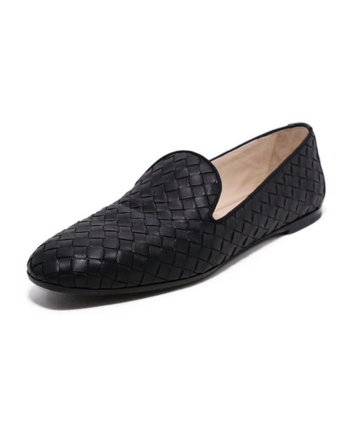 Bottega Veneta Black Woven Leather Flats 1