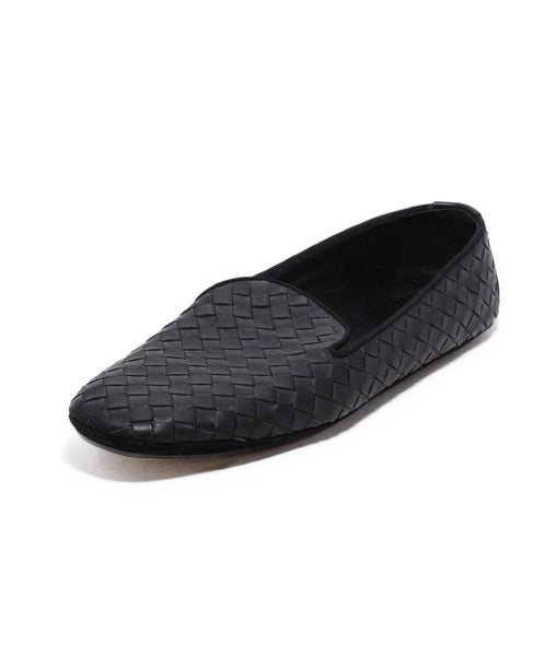 Bottega Veneta Black Woven Leather Loafers 1