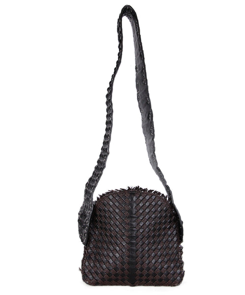 Bottega Veneta Black brown Woven Leather Croc Bag 1