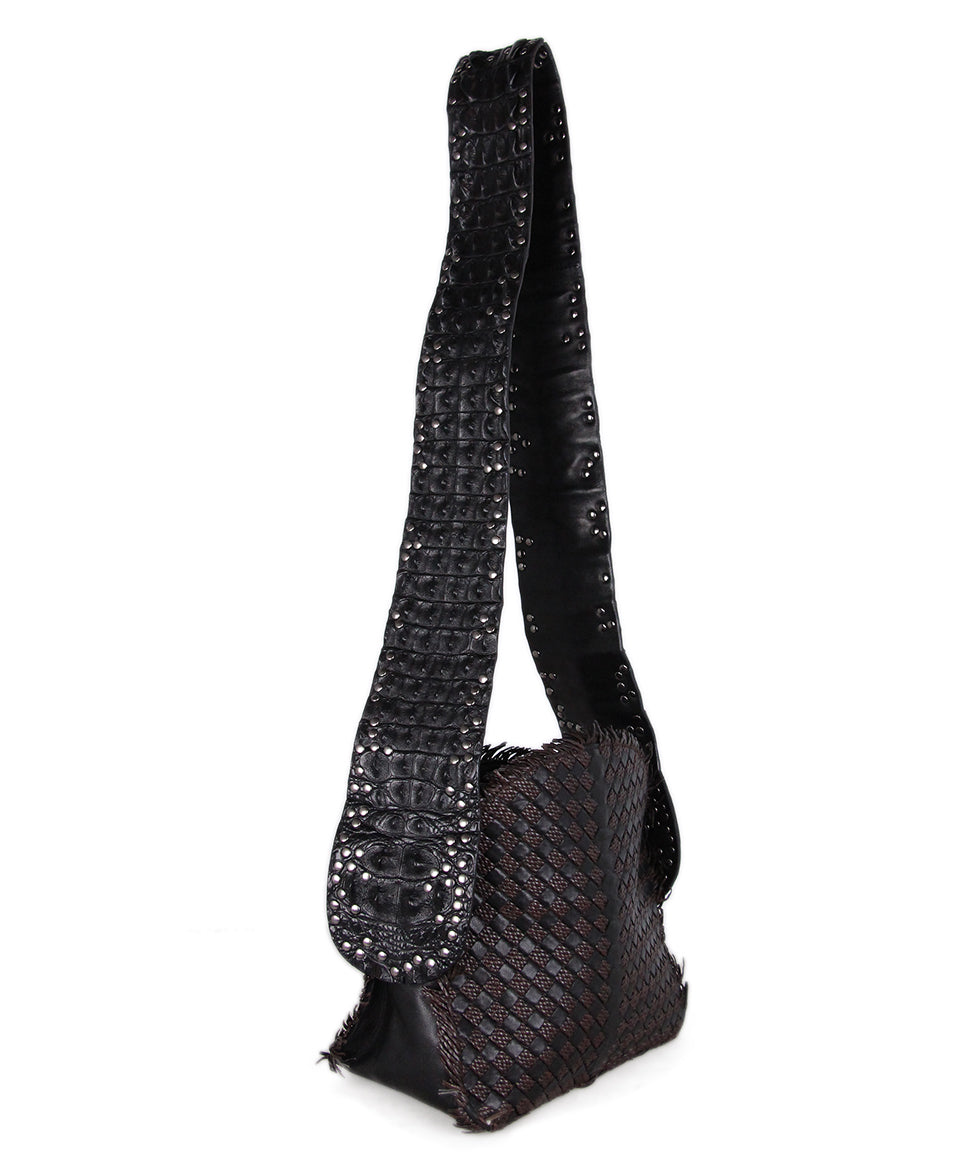 Bottega Veneta Black brown Woven Leather Croc Bag 2