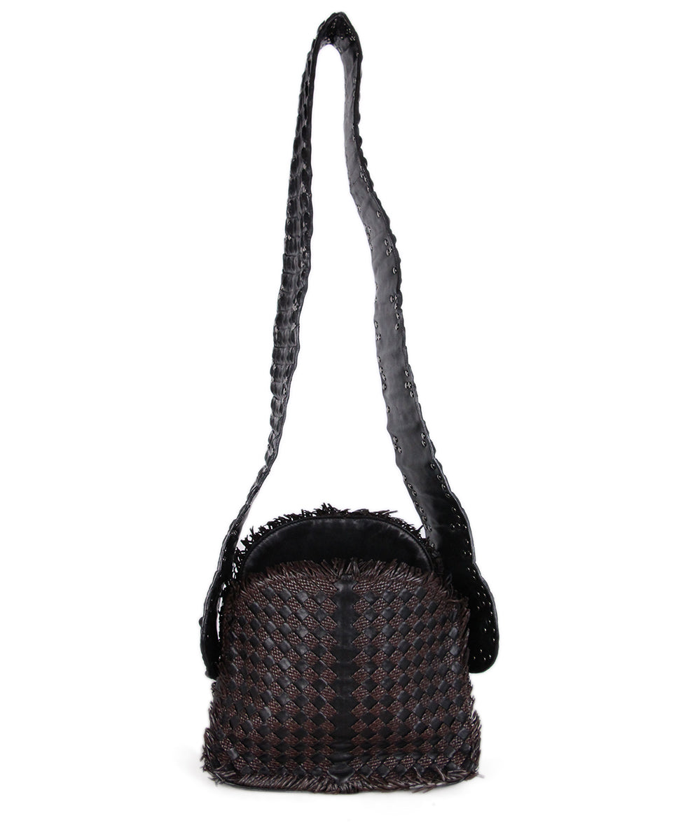 Bottega Veneta Black brown Woven Leather Croc Bag 3