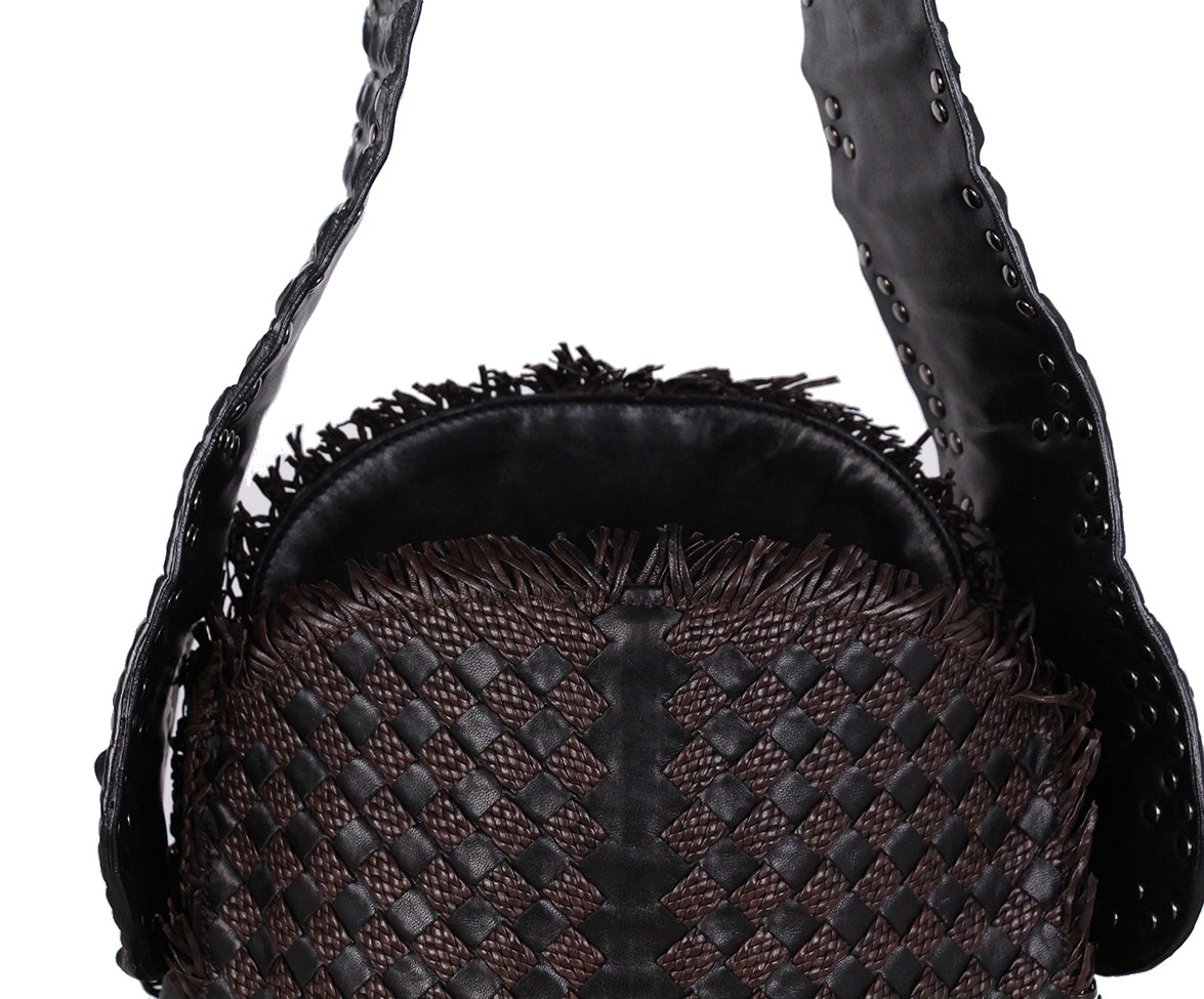 Bottega Veneta Black brown Woven Leather Croc Bag 7