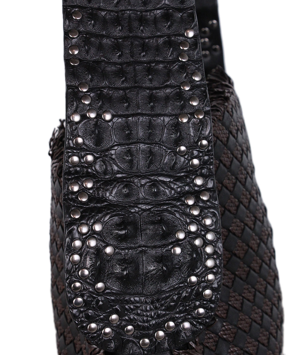 Bottega Veneta Black brown Woven Leather Croc Bag 8