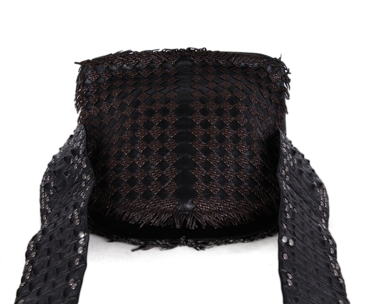 Bottega Veneta Black brown Woven Leather Croc Bag 5