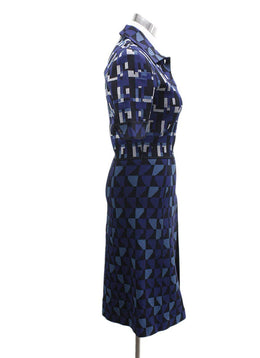 Bottega Veneta Blue Black Silver Knit Dress 1