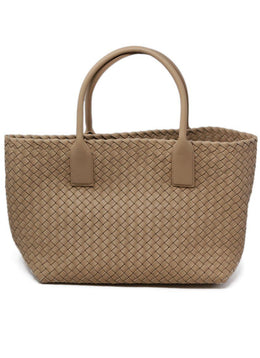 Bottega Veneta Neutral Tan Woven Leather W/Dust Bag Handbag