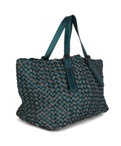 Bottega Veneta Green Woven Leather Tote 1