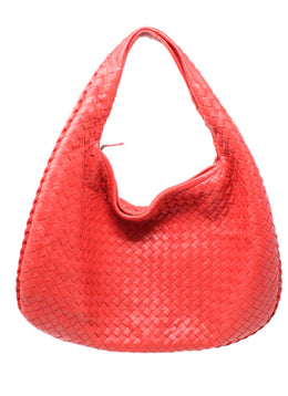 Bottega Veneta Intreccacio Woven Red Leather Hobo Bag 1