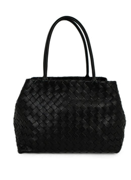 Bottega Veneta Black Woven Leather Tote Handbag | Bottega Veneta