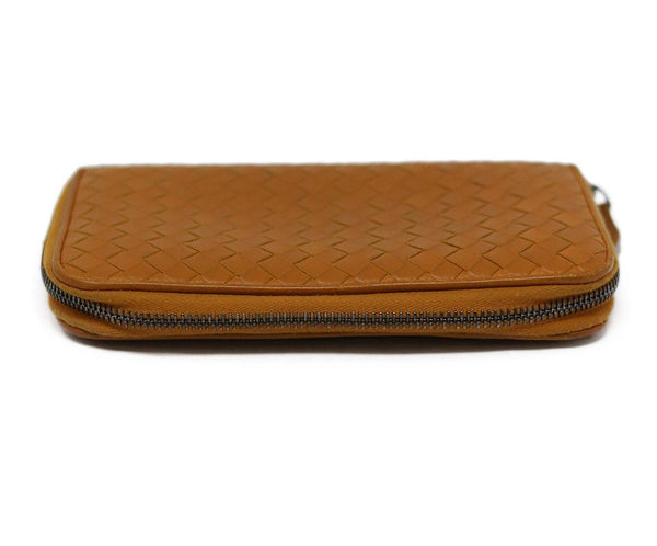 Bottega Veneta Orange Woven Leather Wallet
