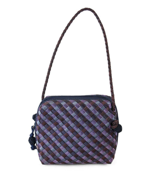 Zipper Bottega Veneta Purple Blue Silk Handbag