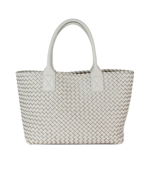 Bottega Veneta White Woven Leather Tote 3