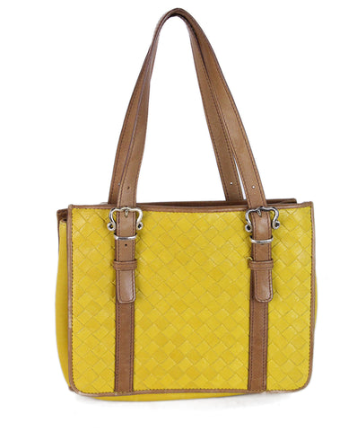 Bottega Veneta Yellow Woven Leather Satchel 1