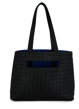 Bottega Veneta Black Woven Leather BV Slote Tote Bag | Bottega Veneta
