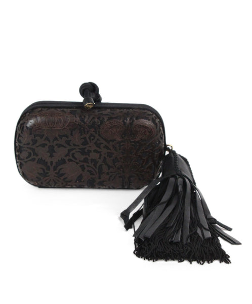 Bottega Veneta brown black leather silk cutwork clutch 1